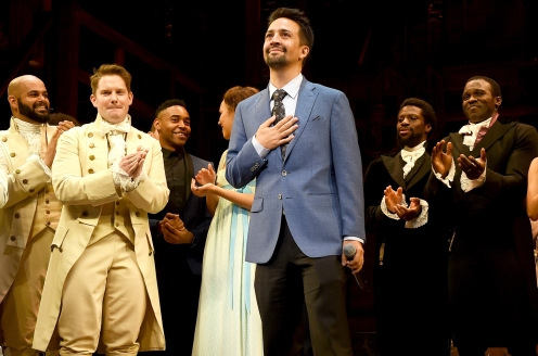 "LOS ANGELES, CA - AUGUST 16: Actor/writer/songwriter Lin-Manuel Miranda and the cast appear onstage at the opening night curtain call for ""Hamilton"" at the Pantages Theatre on August 16, 2017 in Los Angeles, California. (Photo by Kevin Winter/Getty Images)"